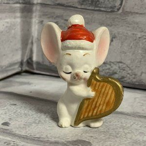 Napco Christmas White Mouse Figurine With Harp